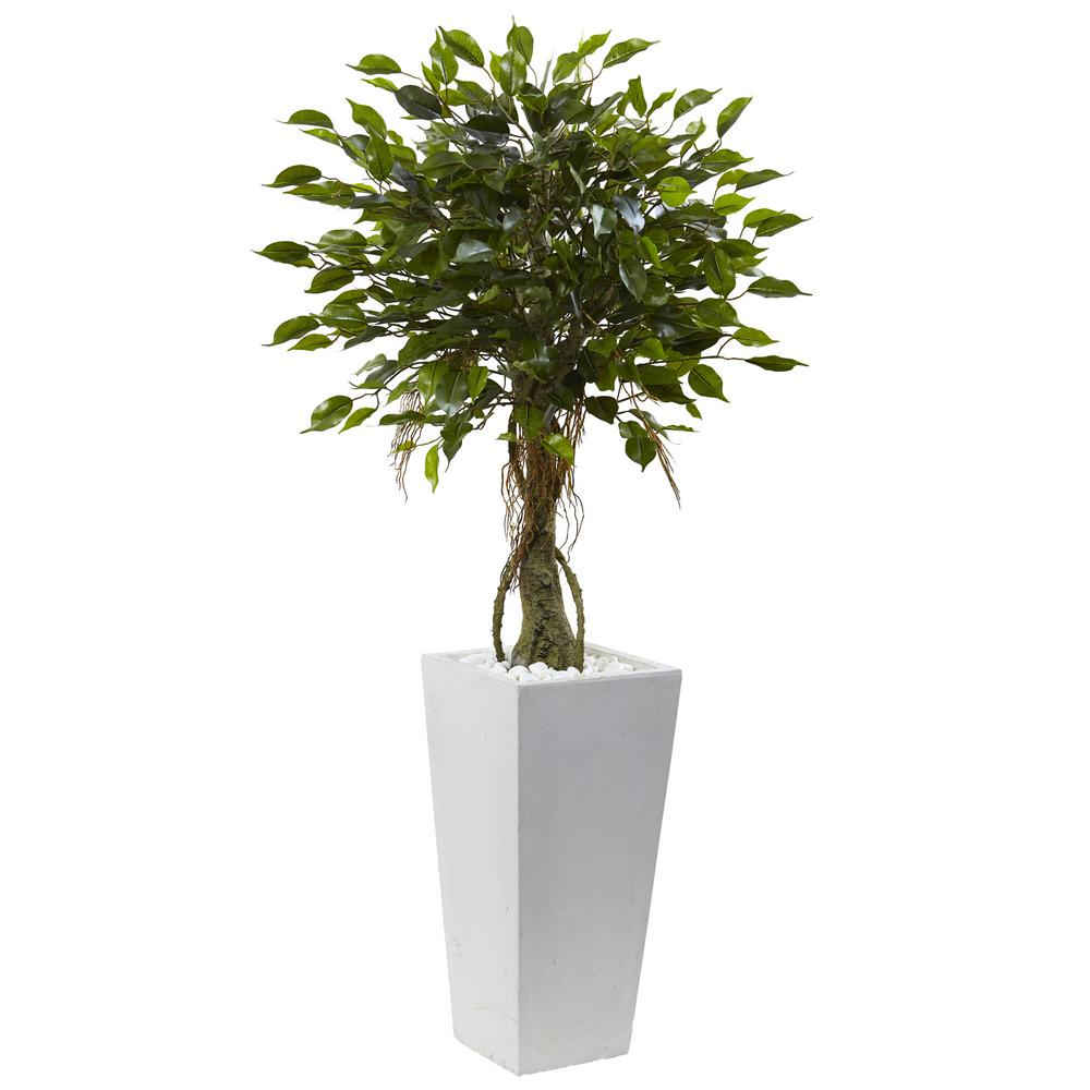 Nearly Natural 52 in. Ficus Tree with White Planter UV Re...