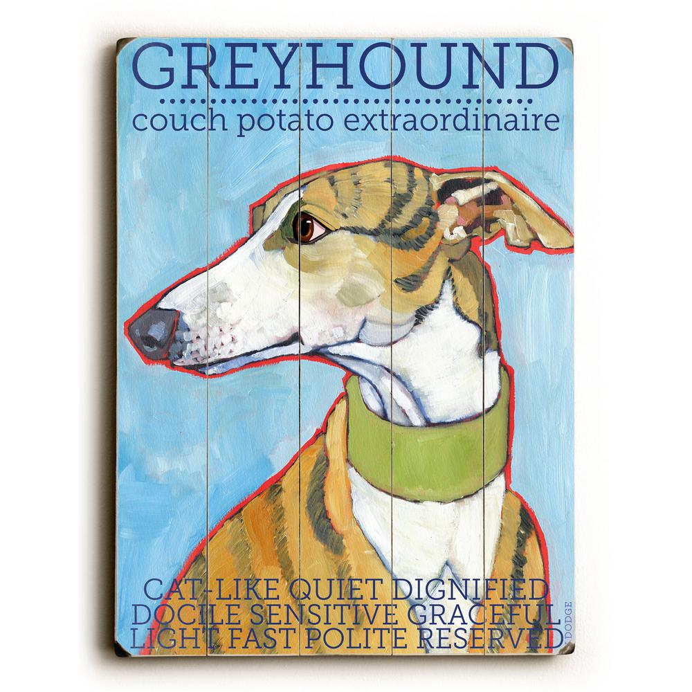 """12 in. x 16 in. """"Greyhound"""" by Ursula Dodge """"Planked Wood..."""