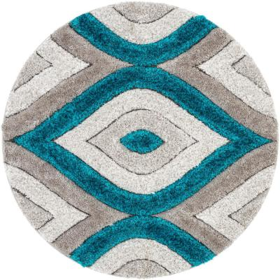 San Francisco Malibu Blue Modern Trellis Ogee 5 ft. 3 in. x 5 ft. 3 in. 3D Carved Shag Round Rug