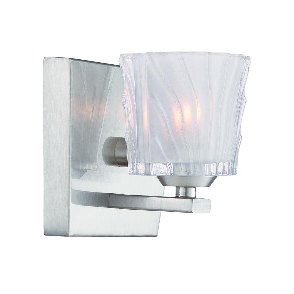 Volare 1-Light Satin Platinum Interior Halogen Bath Vanity Light