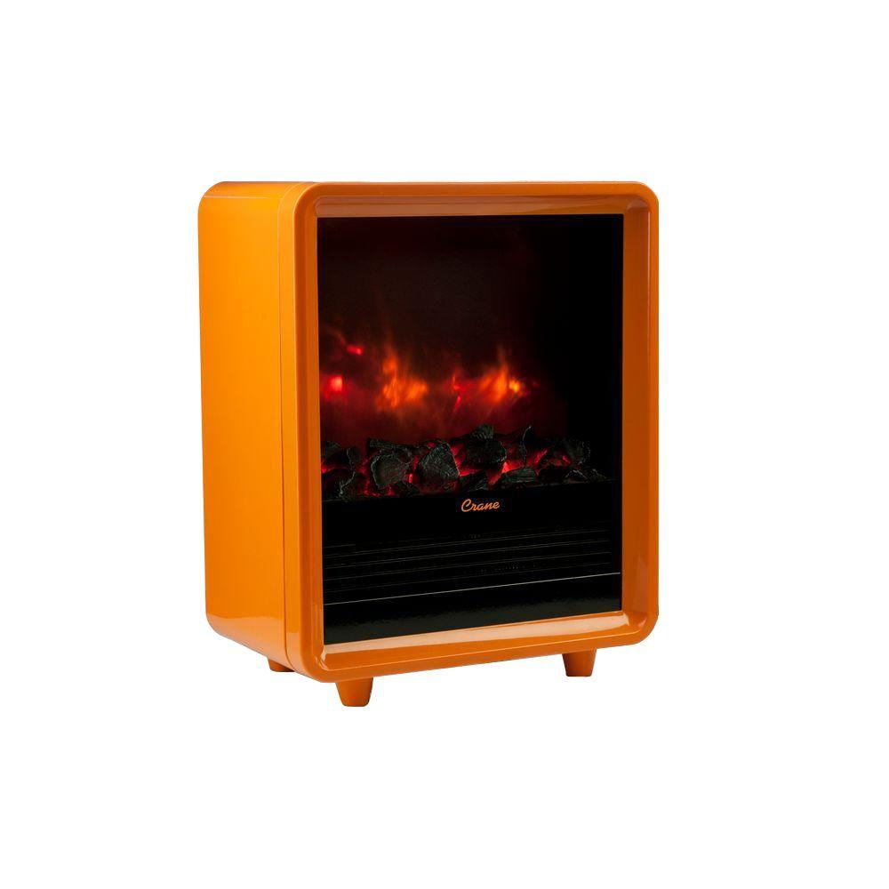 Crane 1500-Watt Mini Fireplace Radiant Electric Portable Heater - Orange