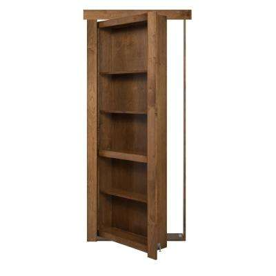 24 in. x 80 in. Assembled Medium Brown Stained Maple Flush Mount Bookcase Wood Single Prehung Interior Door