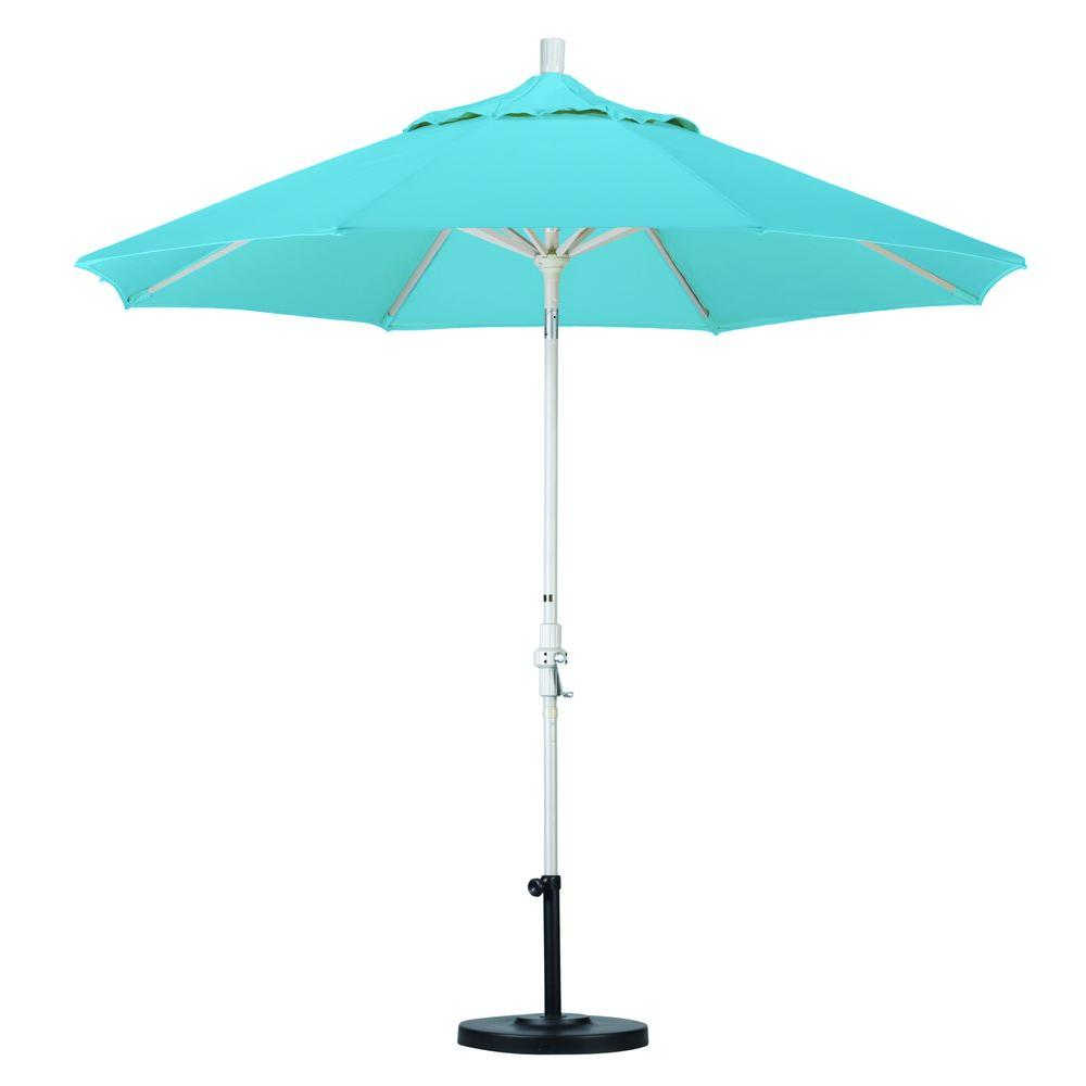 California Umbrella 9 ft. Aluminum Collar Tilt Patio Umbrella in Capri Pacifica