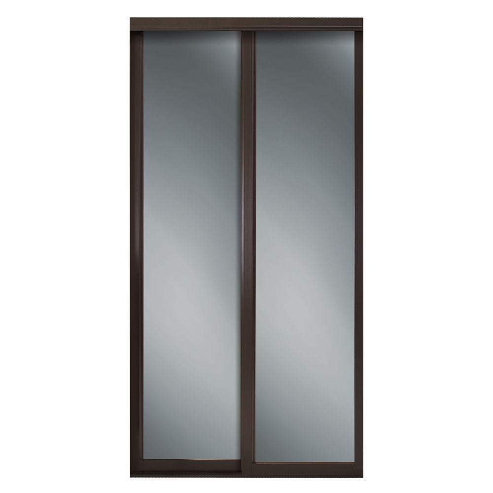 Contractors Wardrobe 60 in. x 81 in. Serenity Espresso Wood Frame Mirrored Interior Sliding Door