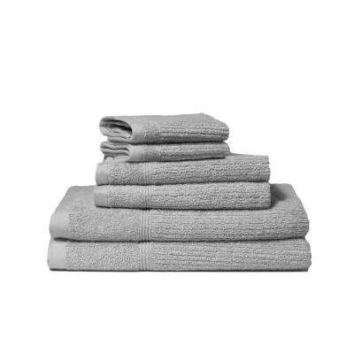 Donna 6-Piece 100% Cotton Bath Towel Set in Silver