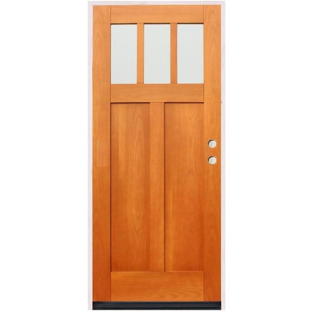 Pacific Entries Craftsman 3 Lite Stained Birch Wood Prehung Front Door-DISCONTINUED