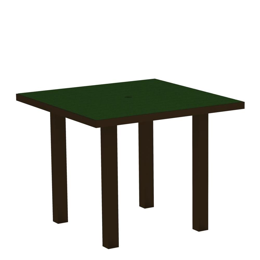 Euro Textured Bronze 36 in. Square Patio Dining Table with Green