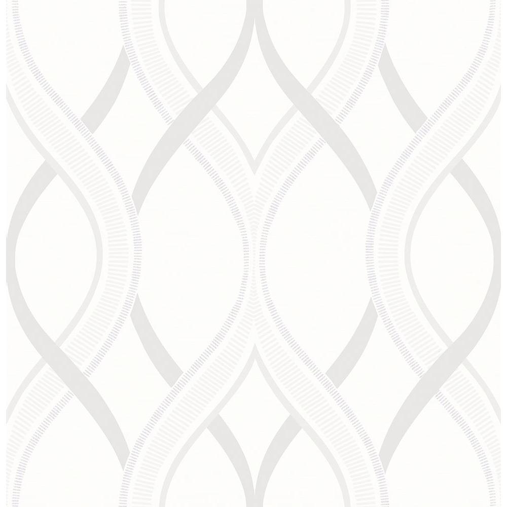 A-Street Frequency Cream Ogee Wallpaper Sample 2625-21854SAM