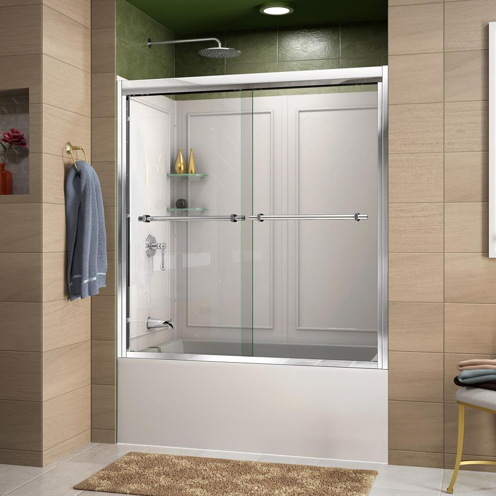 DreamLine Duet 55 to 59 in. x 60 in. Semi-Frameless Sliding Tub Door in Chrome and Backwall with Glass Shelves