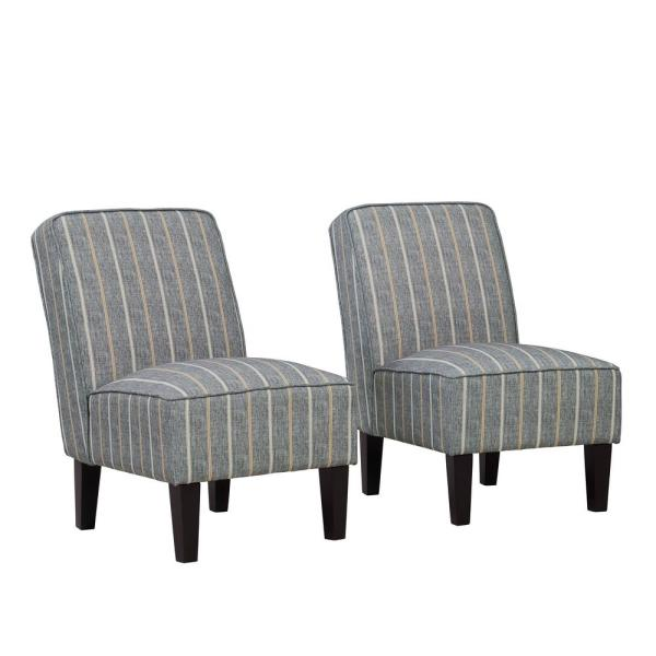 Handy Living Brodee Charcoal and Tan Stripe Upholstered Armless Accent Chairs