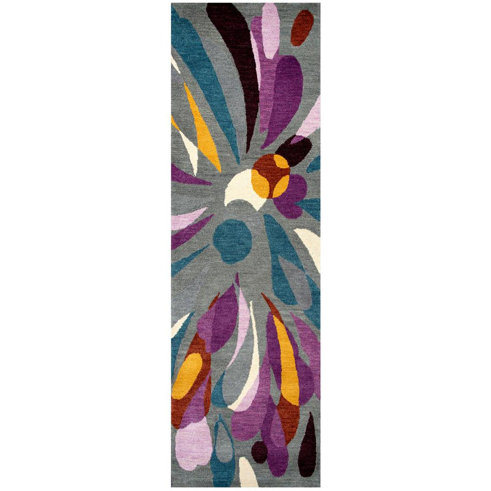 Rizzy Home Bradberry Downs Medium Grey Abstract 3 ft. x 8 ft. Runner Rug