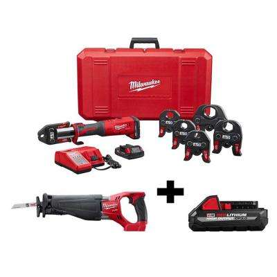 M18 18-Volt Lithium-Ion Brushless Cordless Force Logic Press Tool Kit with Free M18 Fuel Sawzall and Battery