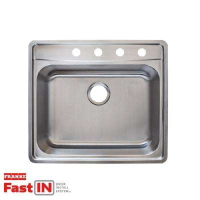 Evolution Fast-in Mount Drop-In Stainless Steel 25.5 in. 4-Hole Single Bowl Kitchen Sink in Satin Stainless Steel