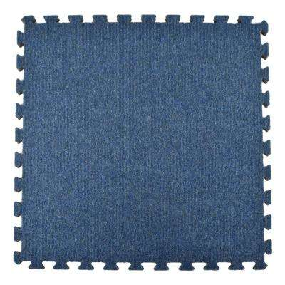 Royal Blue Carpet Velour Plush 10 ft. x 10 ft. x 5/8 in. Interlocking Carpet Tile 96.875 sq. ft. (25 piece Kit)