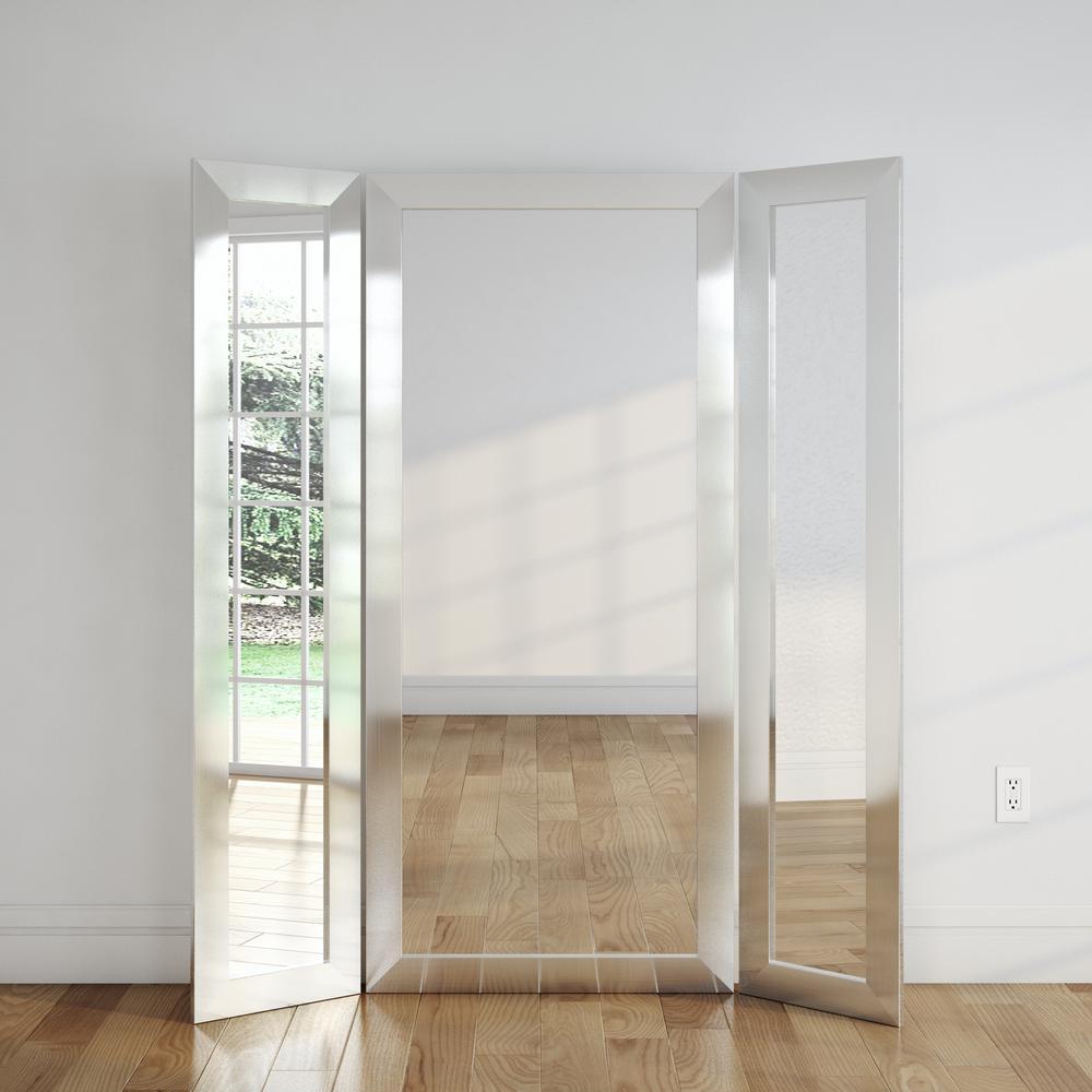 71 in. x 64 in. Modern Silver 3 Panel Dressing Framed Mirror