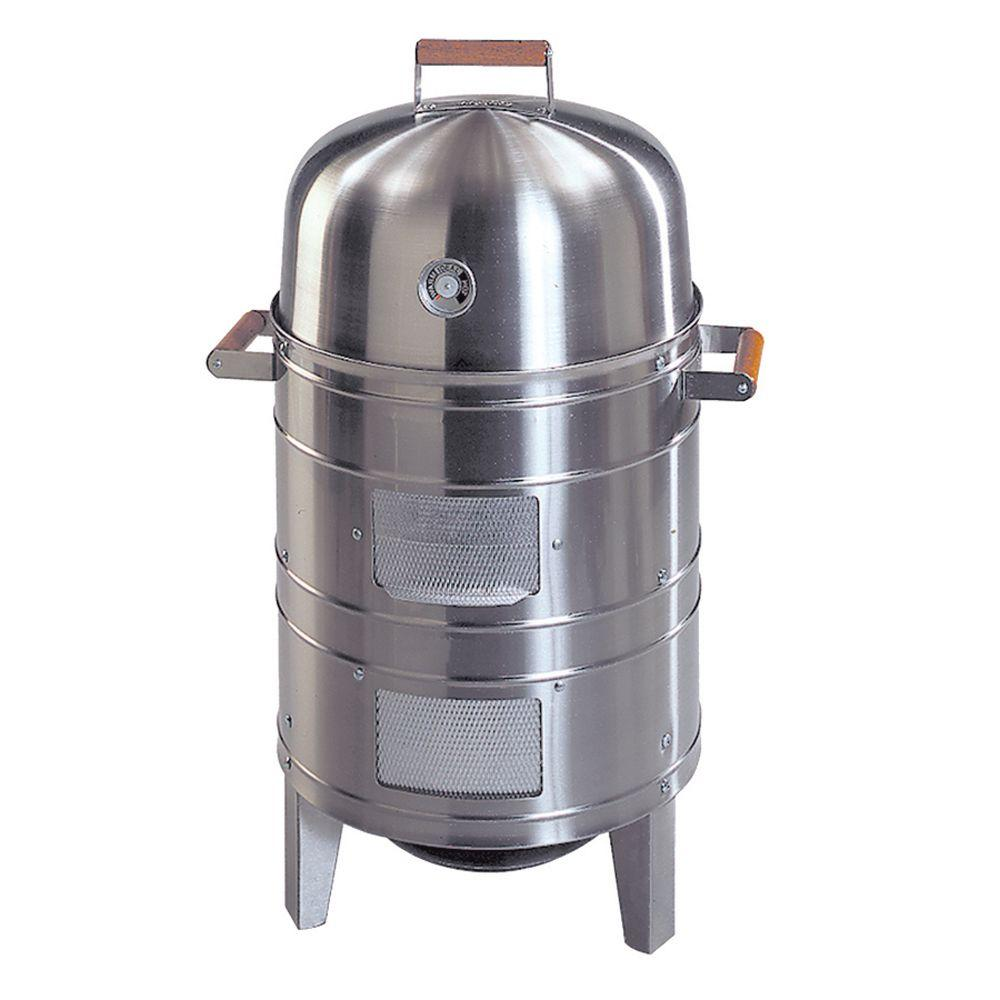 Southern Country Double Grid Charcoal Water Smoker in Stainless Steel