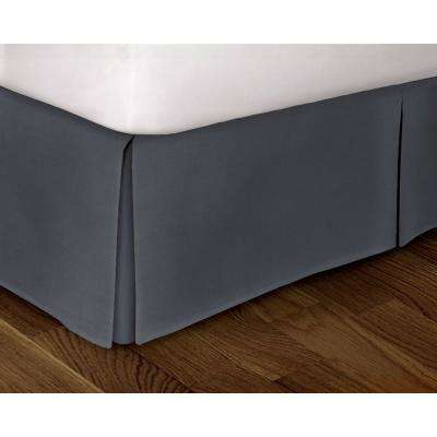 Steel Blue Solid Pattern Queen Bed Skirt
