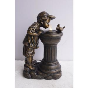 Alpine Golden Boy Drinking Water Out of Fountain with LED Light by Alpine