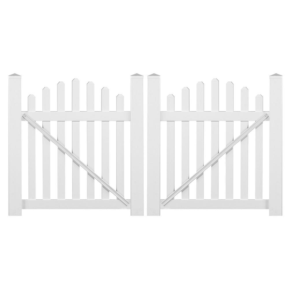 Sanibel 8.8 ft. W x 5 ft. H White Vinyl Picket Fence Double Gate Kit