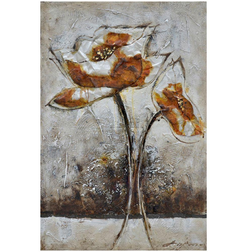 Yosemite Home Decor 31.5 in. x 47 in. Fleur I Hand Painted Contemporary Artwork