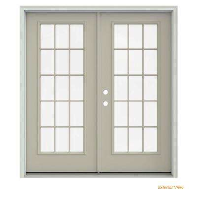 72 in. x 80 in. Desert Sand Painted Steel Right-Hand Inswing 15 Lite Glass Stationary/Active Patio Door