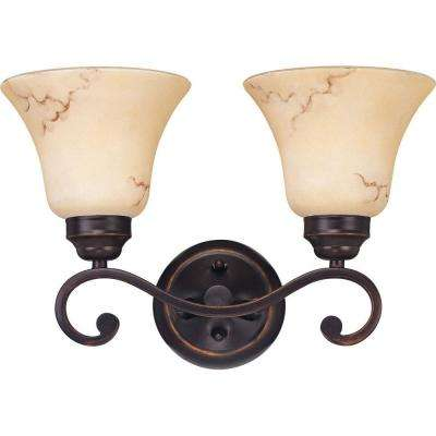 Vala 2-Light Copper Espresso Bath Vanity Light with Honey Marble Glass