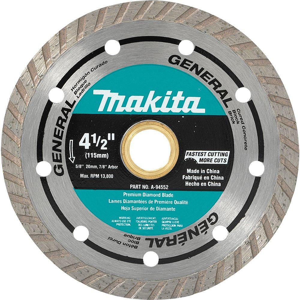 Makita 4 12 in turbo rim general purpose diamond blade a 94552 turbo rim general purpose diamond blade a 94552 the home depot greentooth Images