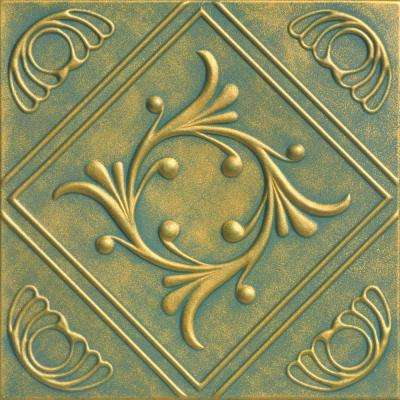 Diamond Wreath 1.6 ft. x 1.6 ft. Foam Glue-up Ceiling Tile in Green Gold Patina