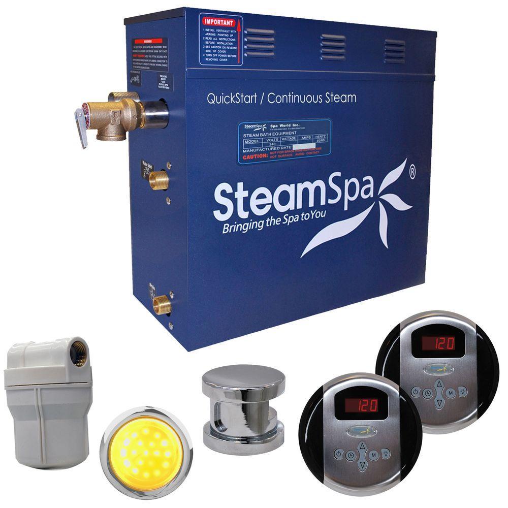 SteamSpa Royal 9kW Steam Bath Generator Package in Brushed Nickel