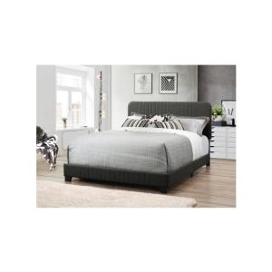 All-in-One Gray Queen Bed with Channeled Headboard and Footboard