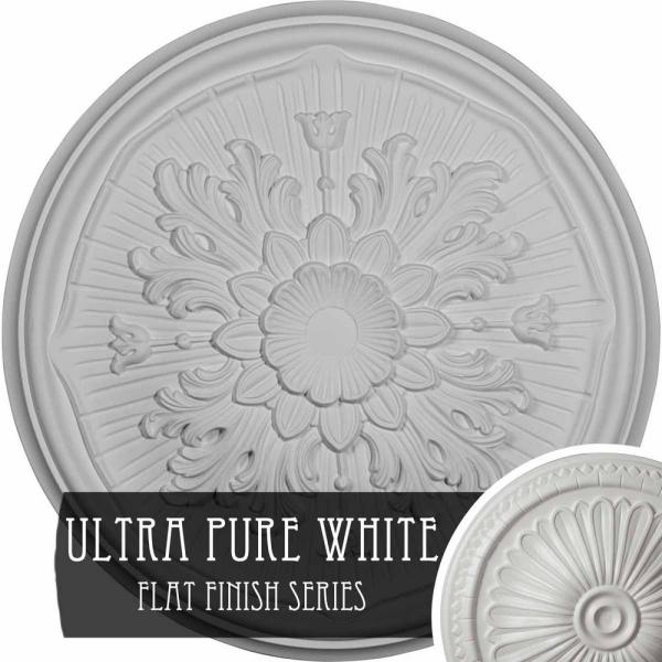 Ekena Millwork 15 3 4 In X 5 8 In Lupton Urethane Ceiling Medallion Fits Canopies Upto 1 1 8 In Ultra Pure White Cm16luuwf The Home Depot