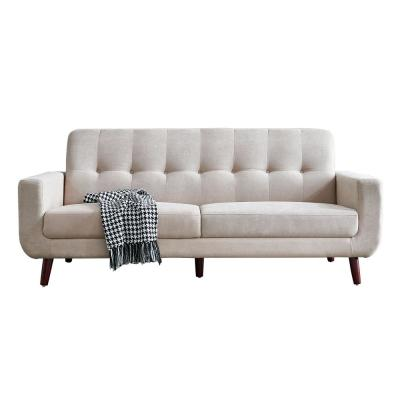 79.6 in.  Width Beige Mid-Century Modern Fabric Upholstered Lovseats Sofa with Tufted Back