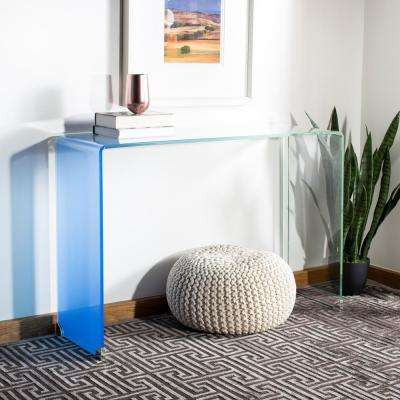 Crysta Glass Clear/Blue Console Table