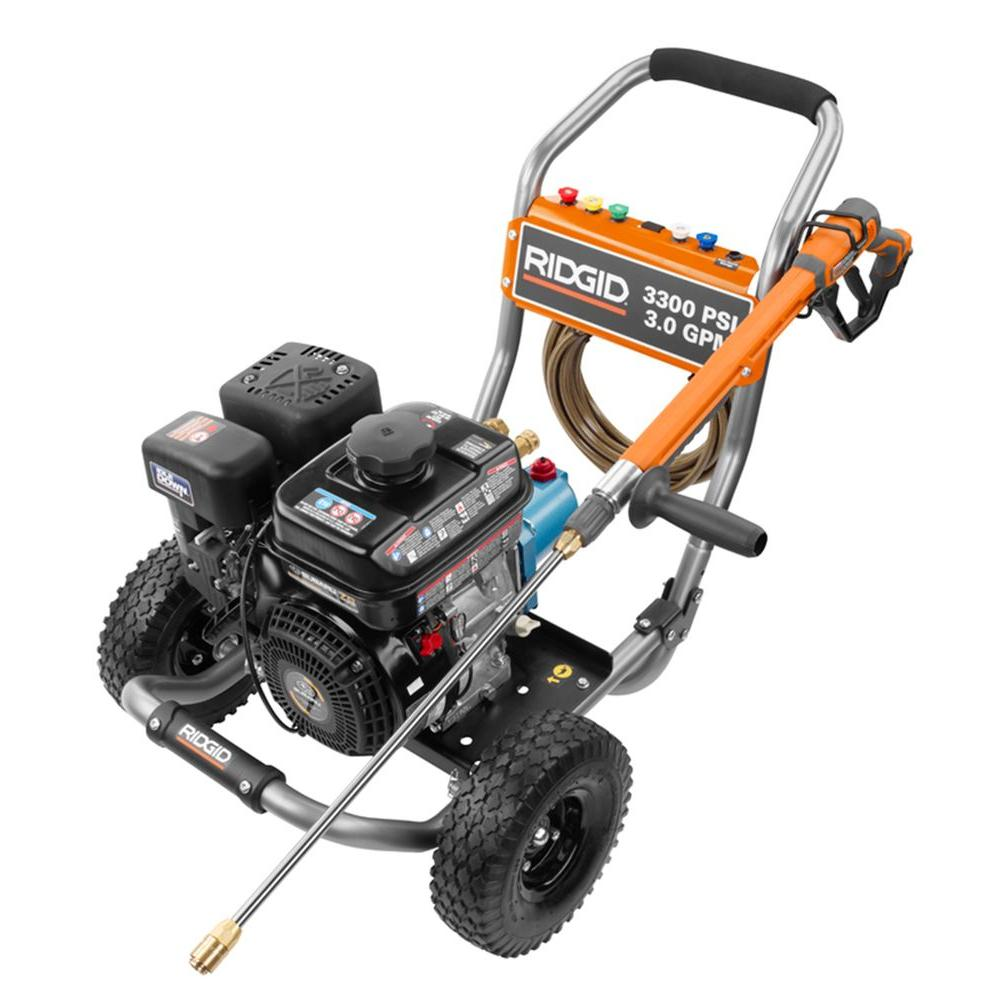 RIDGID 3,300-PSI 3-GPM Subaru Engine Gas Pressure Washer with Cat Pump and Idle Down