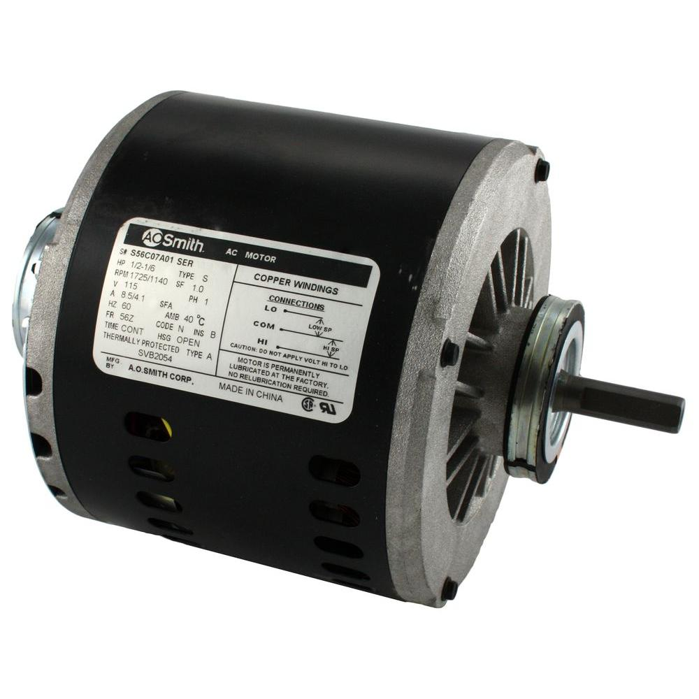2 speed 1 2 hp evaporative cooler motor 2204 the home depot for Ao smith ac motor 1 2 hp