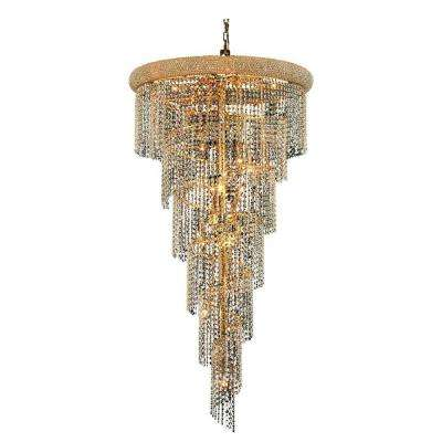 22-Light Gold Chandelier with Clear Crystal