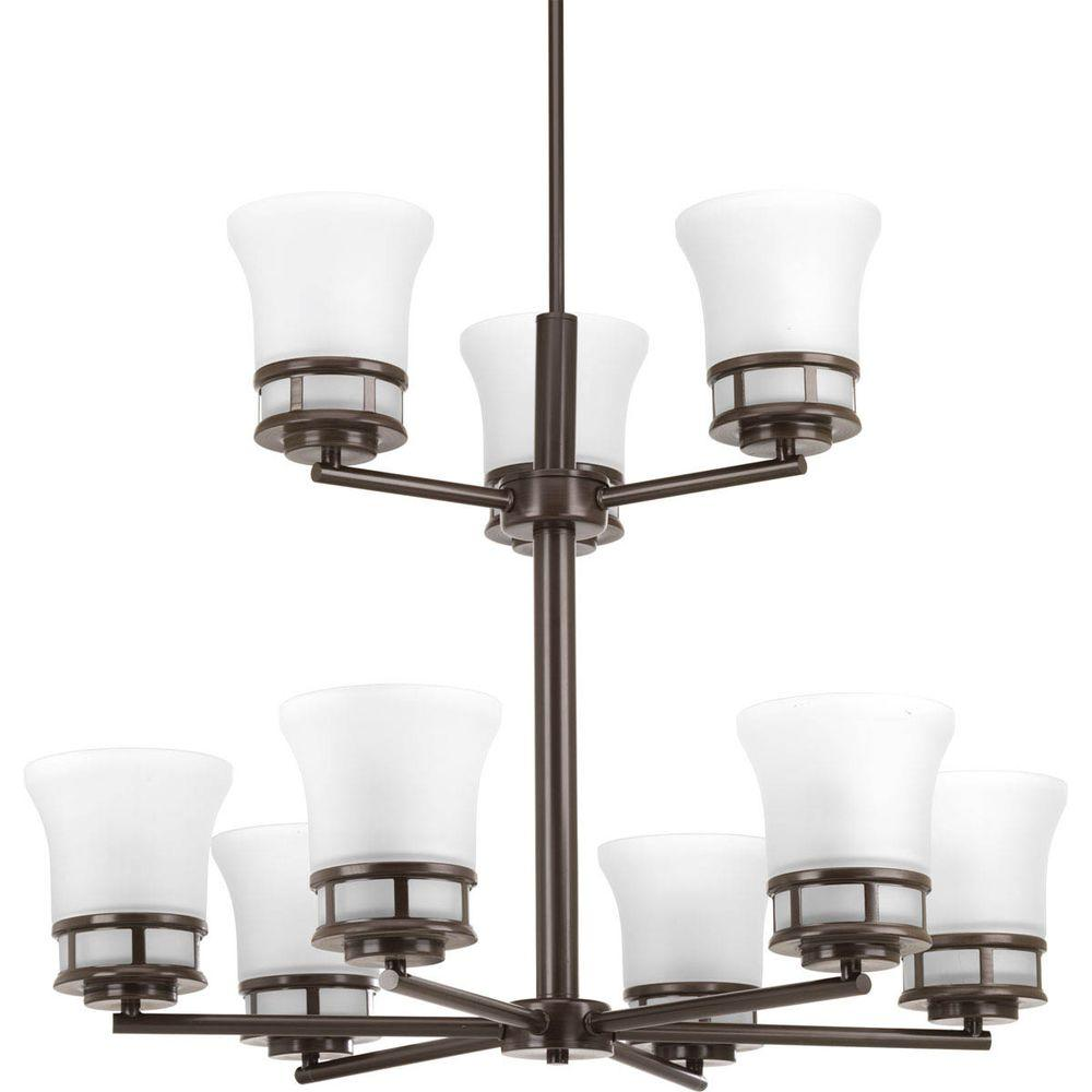 Cascadia Collection 9-Light Antique Bronze Chandelier with Etched Glass