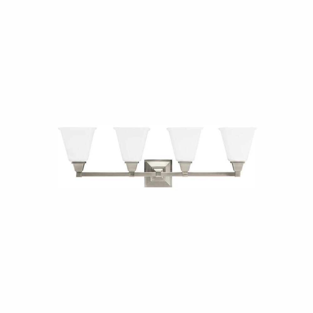 Denhelm 4-Light Brushed Nickel Bath Light with LED Bulbs