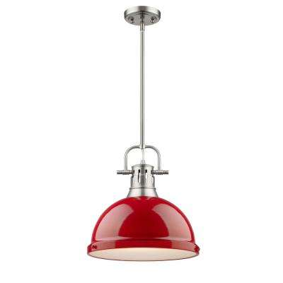 Duncan 1-Light Pewter Pendant with Rod with Red Shade