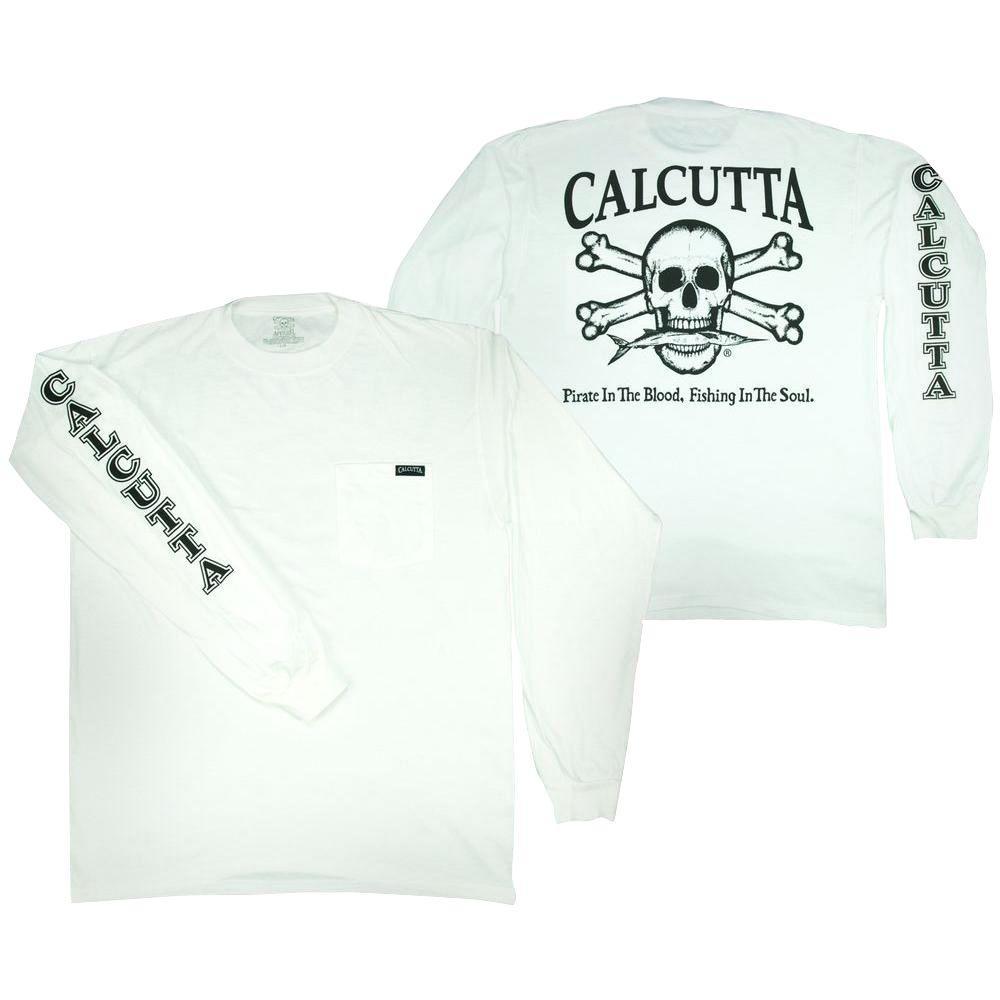 Adult Medium Original Logo Long Sleeved Front Pocket T-Shirt in White