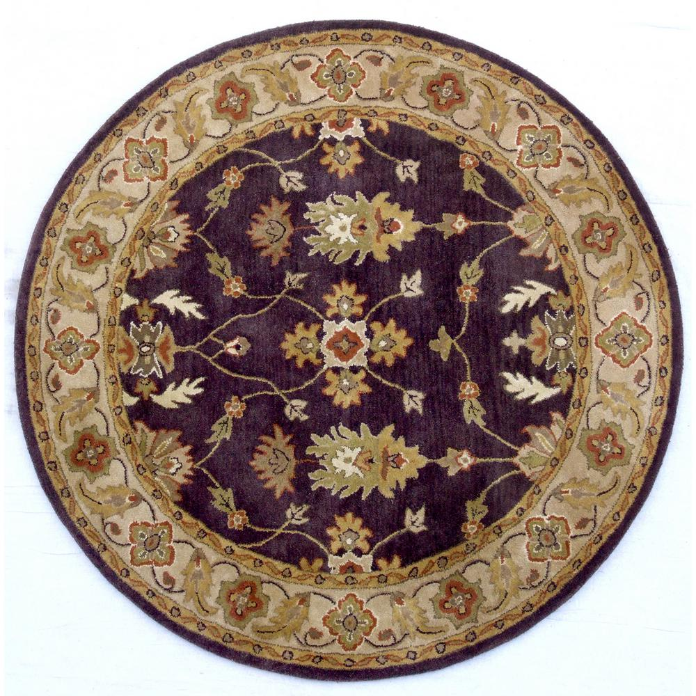 Dynamic Rugs Charisma Eggplant Ivory 7 Ft 10 In Round