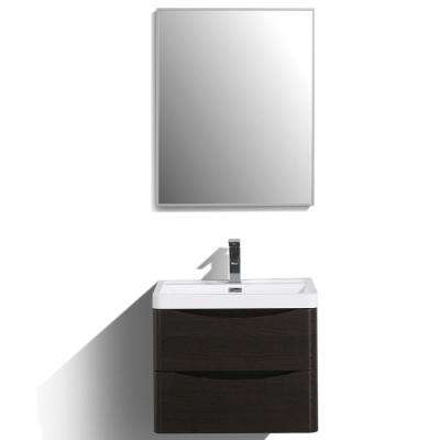 Smile 24 in. W x 16.5 in. D x 21 in. H Vanity in White with Acrylic Vanity Top in Chest-nut with White Basin
