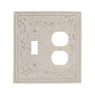 Faux Stone 2 Gang 1-Toggle and 1-Duplex Resin Wall Plate - Almond