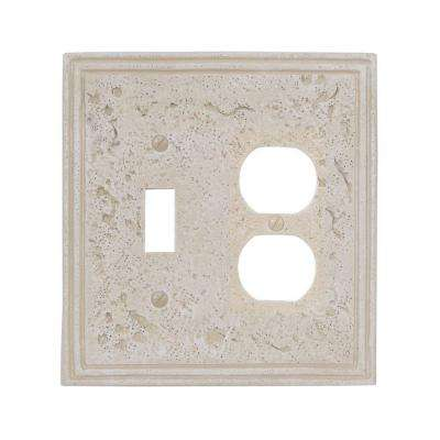 Texture Stone 1 Toggle and 1 Duplex Wall Plate - Noce