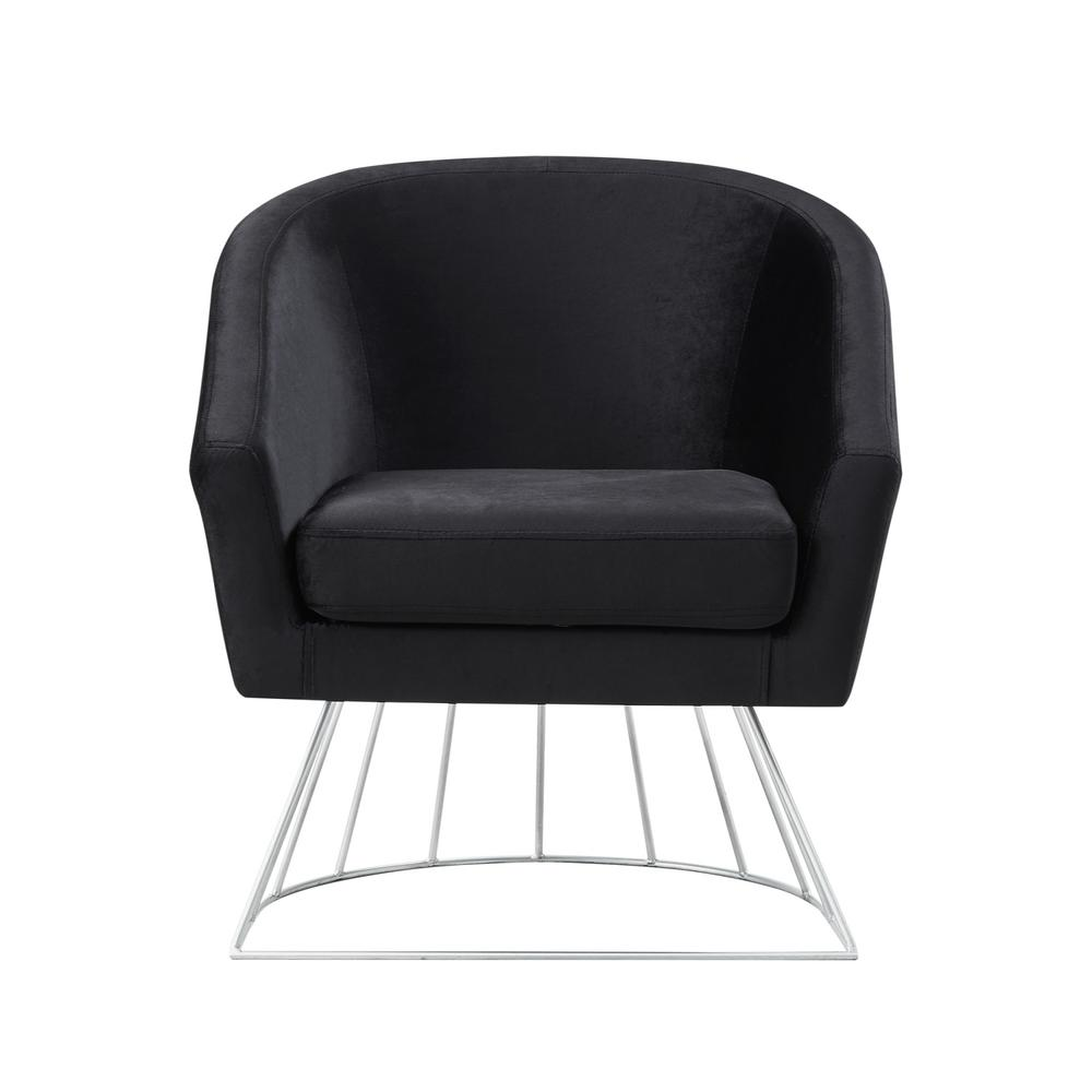Esmeralda Velvet Black/Silver Modern Contemporary Barrel Accent Chair with Metal
