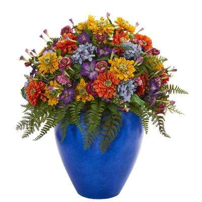 Indoor Giant Mixed Fl Artificial Arrangement In Blue Vase