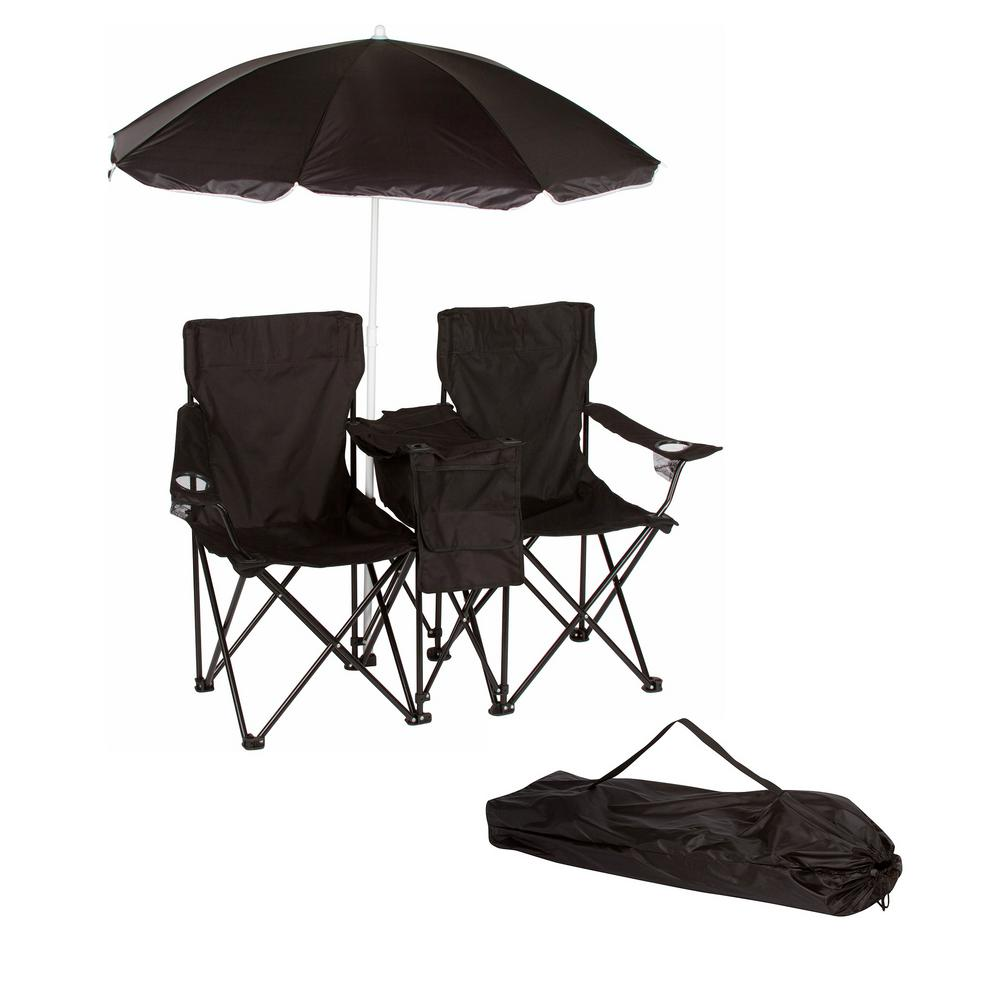 Wondrous Trademark Innovations Black Double Folding Camp And Beach Chair With Removable Umbrella And Cooler Machost Co Dining Chair Design Ideas Machostcouk
