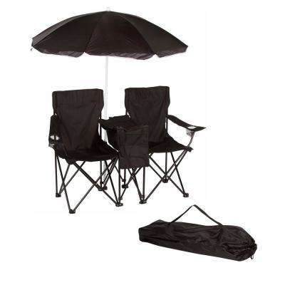 Black Double Folding Camp And Beach Chair With Removable Umbrella Cooler