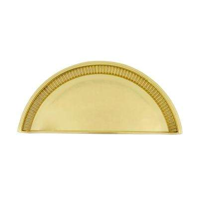 3 in. (76 mm) Polished Brass Drawer Cup Pull Soleil