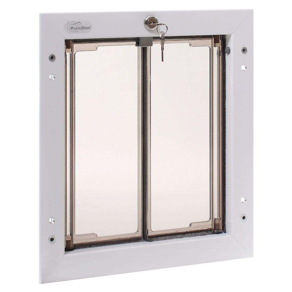 PlexiDor Performance Pet Doors 9 in. x 12 in. Door Mount White Medium Dog Door
